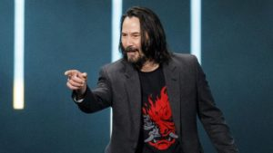 Keanu Reeves at E3 for Cyberpunk 2077 saying your breathtaking to a audience member