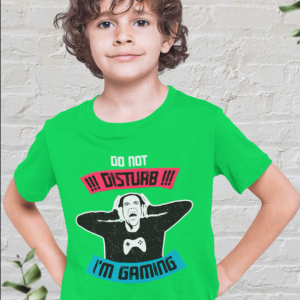 Green kids t-shirt for gamers featuring 'Do Not Disturb I'm Gaming'
