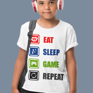 White kids t-shirts for gamers featuring 'Eat, Sleep, Game Repeat'
