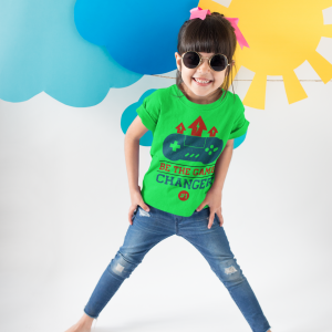 Green kids t-shirt for gamers featuring 'Be The Game Changer'