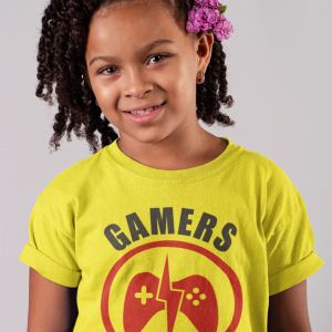 Yellow kids t-shirts for gamers featuring 'Gamers Never Quit'