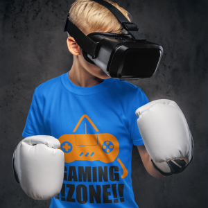 Light Blue kids t-shirts for gamers featuring 'Gaming Zone'