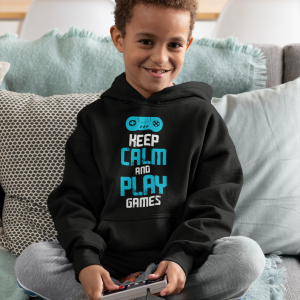 Black kids keep calm hoodies for gamers featuring 'Keep Calm And Play Games''