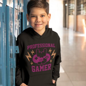 Black kids hoodie for gamers featuring 'Professional Gamer'